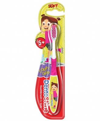 DENTOSHINE TOOTHBRUSH COMFY GRIP 5+ PINK