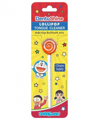 DENTOSHINE LOLLIPOP TONGUE CLEANER ORANGE