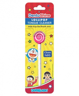 DENTOSHINE LOLLIPOP TONGUE CLEANER PINK