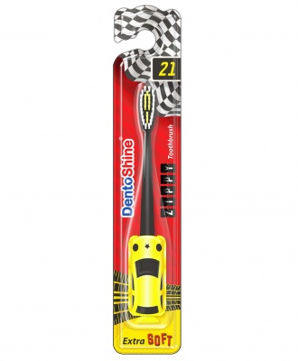 DENTOSHINE TOOTHBRUSH ZIPPY YELLOW