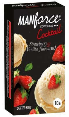 Manforce Strawberry & Vanilla Dotted-Ring Cocktail Condom 10's