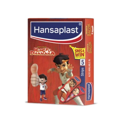 Hansaplast Chota Bheem Kumphu Dhamaka Red Waterproof Bandage Packet Of 5