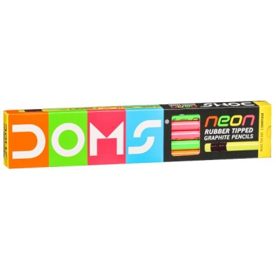 Doms Neon Rubber Tipped Graphite Pencils 185 mm with Eraser & Sharpener (Art No 7940) Pack Of 10