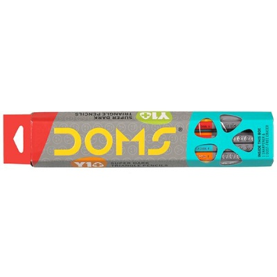 Doms Y1+ Super Dark Triangle Pencils 172 mm (With Sharpener & Eraser) Art No 7046 Pack Of 10
