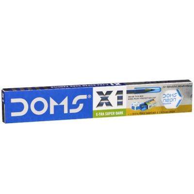 Doms X1 X-Tra Super Dark Pencils 172 mm with Eraser & Sharpener (Art No 7930) Pack Of 10