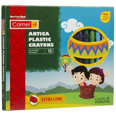 Camel Artica Plastic Crayons 112 mm (Free Ereazer & Sharpener) Pack Of 16