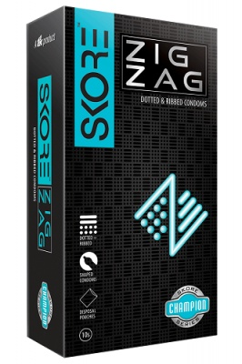 Skore ZigZag Dotted & Ribbed Condoms - 10's Pack