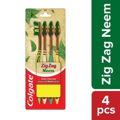 Colgate ZigZag Neem Soft Bristle Toothbrush, 4 pcs