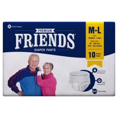 Friends Pullup Pant Style Adult Diapers - M-L, 10's pack